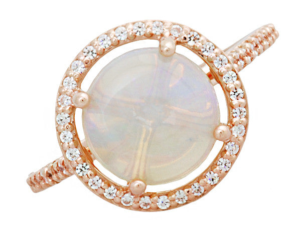 Translucent Opal Halo Ring in 14 Karat Rose Gold with Diamonds - Grisey's Ring - 2.60 Carats - 11mm - Item: R1218RO - Image: 3