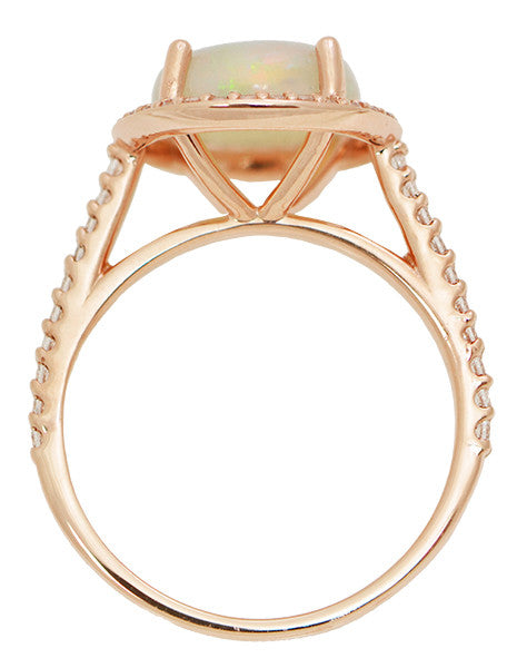Translucent Opal Halo Ring in 14 Karat Rose Gold with Diamonds - Grisey's Ring - 2.60 Carats - 11mm - Item: R1218RO - Image: 4