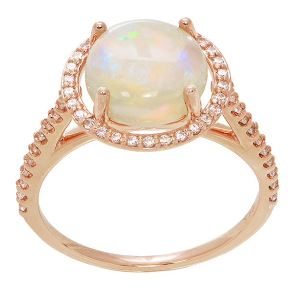 Translucent Opal Halo Ring in 14 Karat Rose Gold with Diamonds - Grisey's Ring - 2.60 Carats - 11mm - Item: R1218RO - Image: 1