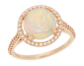 Translucent Opal Halo Ring in 14 Karat Rose Gold with Diamonds - Grisey's Ring - 2.60 Carats - 11mm