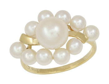 Vintage Mikimoto Pearl Cluster Ring in 14 Karat Yellow Gold
