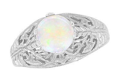 Edwardian Opal Filigree Ring in 14 Karat White Gold - Item: R137o - Image: 2