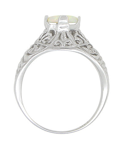 Edwardian Opal Filigree Ring in 14 Karat White Gold - Item: R137o - Image: 3