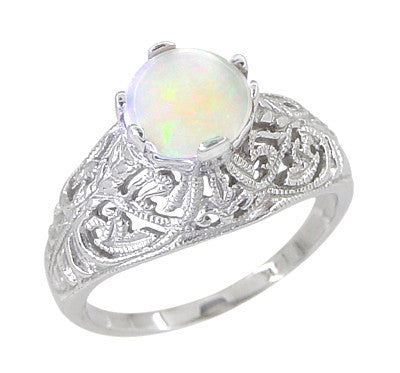 Edwardian Opal Filigree Ring in 14 Karat White Gold - Item: R137o - Image: 1