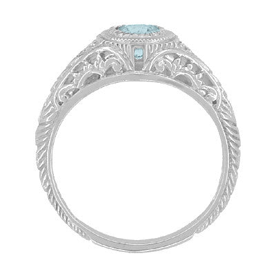 Art Deco Engraved Aquamarine and Diamond Filigree Engagement Ring in 14 Karat White Gold - Item: R138A - Image: 2