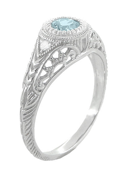Art Deco Engraved Aquamarine and Diamond Filigree Engagement Ring in 14 Karat White Gold - Item: R138A - Image: 3