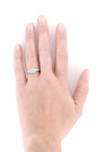 Art Deco Engraved Aquamarine and Diamond Filigree Engagement Ring in 14 Karat White Gold - Item: R138A - Image: 4