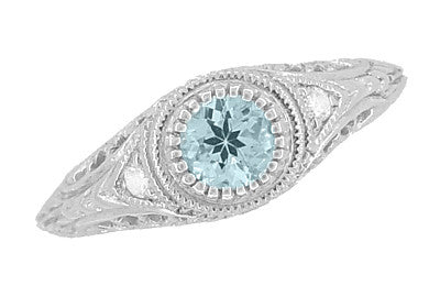 Art Deco Engraved Aquamarine and Diamond Filigree Engagement Ring in 14 Karat White Gold - Item: R138A - Image: 1