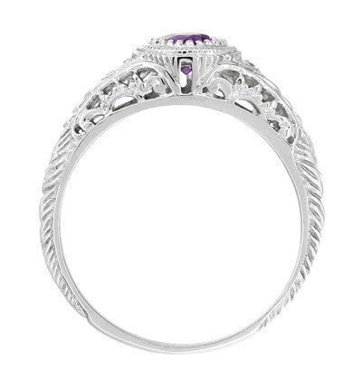 Art Deco Engraved Amethyst and Diamond Filigree Engagement Ring in 14 Karat White Gold - Item: R138AM - Image: 2