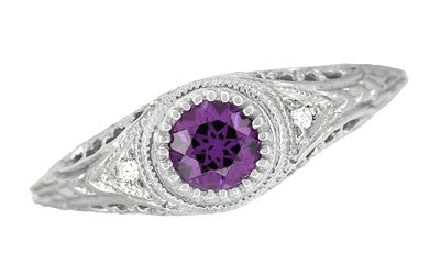 Art Deco Engraved Amethyst and Diamond Filigree Engagement Ring in 14 Karat White Gold - Item: R138AM - Image: 3