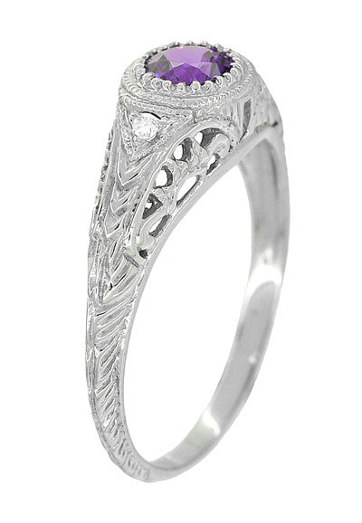 Art Deco Engraved Amethyst and Diamond Filigree Engagement Ring in 14 Karat White Gold - Item: R138AM - Image: 1