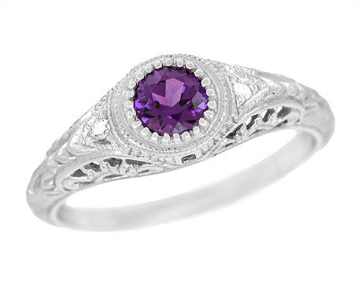 Art Deco Engraved Amethyst and Diamond Filigree Engagement Ring in 14 Karat White Gold