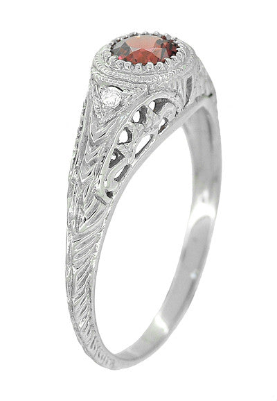 Art Deco Engraved Rhodolite Garnet and Diamond Filigree Engagement Ring in 14 Karat White Gold - Item: R138G - Image: 1