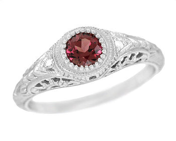 Art Deco Engraved Rhodolite Garnet and Diamond Filigree Engagement Ring in 14 Karat White Gold