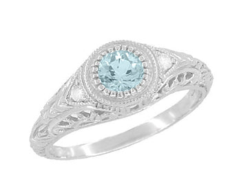 Art Deco Engraved Aquamarine and Diamond Filigree Engagement Ring in Platinum
