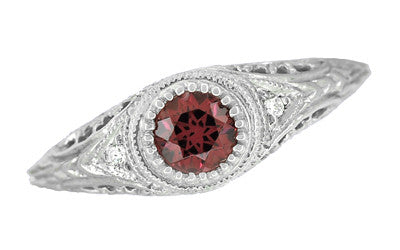 Art Deco Engraved Rhodolite Garnet and Diamond Filigree Engagement Ring in Platinum - Item: R138PG - Image: 2