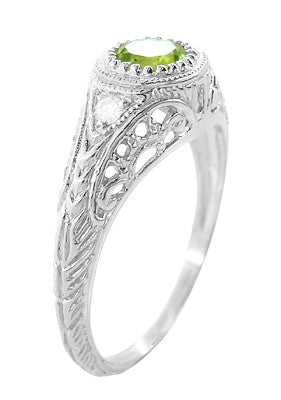 Art Deco Engraved Peridot and Diamond Filigree Engagement Ring in Platinum - Item: R138PPER - Image: 2