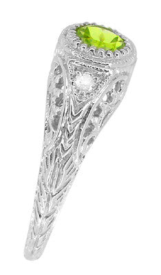 Art Deco Engraved Peridot and Diamond Filigree Engagement Ring in Platinum - Item: R138PPER - Image: 3