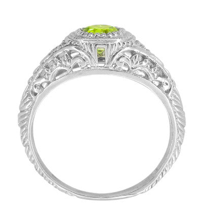 Art Deco Engraved Peridot and Diamond Filigree Engagement Ring in Platinum - Item: R138PPER - Image: 4