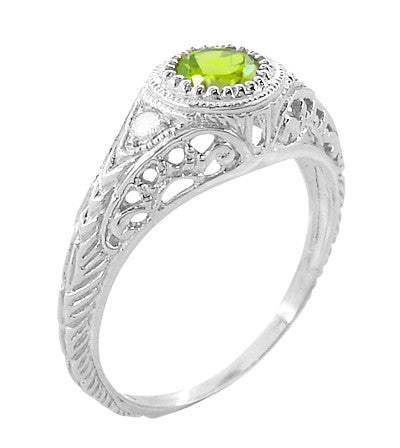 Art Deco Engraved Peridot and Diamond Filigree Engagement Ring in Platinum - Item: R138PPER - Image: 1