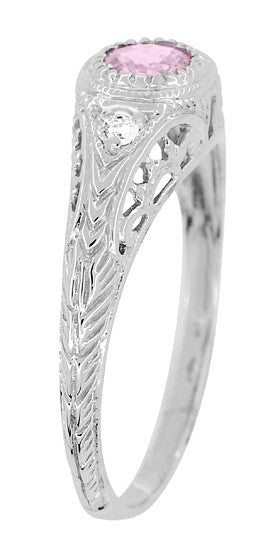 Art Deco Engraved Pink Sapphire and Diamond Filigree Engagement Ring in 14 Karat White Gold - Item: R138PS - Image: 2