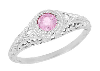 Art Deco Engraved Pink Sapphire and Diamond Filigree Engagement Ring in 14 Karat White Gold