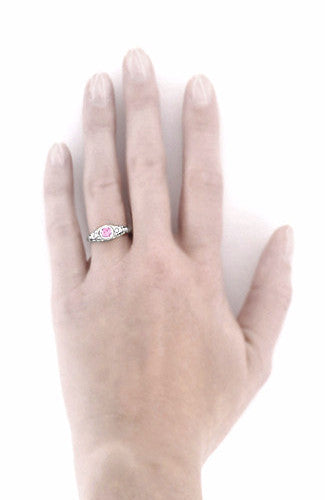 Art Deco Engraved Light Pink Sapphire and Diamond Filigree Engagement Ring in Platinum - Item: R138PSP - Image: 4