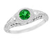 Art Deco Engraved Tsavorite Garnet and Diamond Filigree Engagement Ring in Platinum