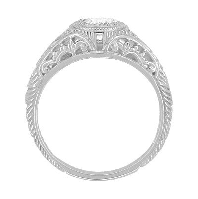 Art Deco Engraved Filigree White Sapphire Engagement Ring in Platinum - Item: R138PWS - Image: 2