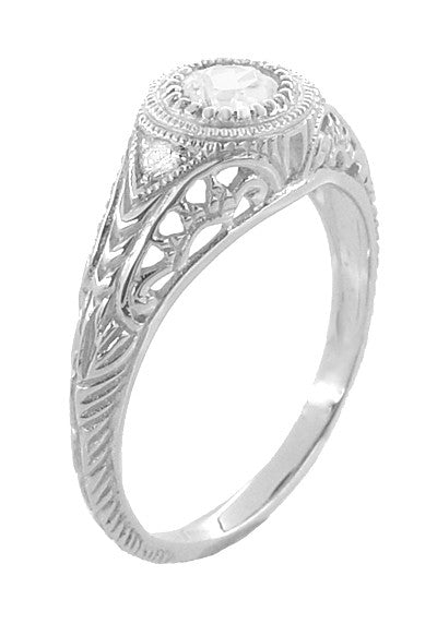 Art Deco Engraved Filigree White Sapphire Engagement Ring in Platinum - Item: R138PWS - Image: 3