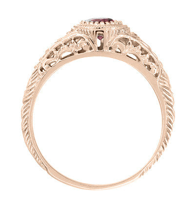 Art Deco Rhodolite Garnet and Diamonds Engraved Filigree Engagement Ring in 14 Karat Rose ( Pink ) Gold - Item: R138RG - Image: 2