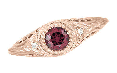 Art Deco Rhodolite Garnet and Diamonds Engraved Filigree Engagement Ring in 14 Karat Rose ( Pink ) Gold - Item: R138RG - Image: 3