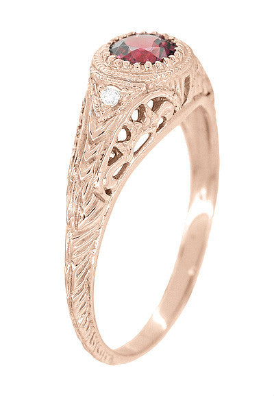 Art Deco Rhodolite Garnet and Diamonds Engraved Filigree Engagement Ring in 14 Karat Rose ( Pink ) Gold - Item: R138RG - Image: 1