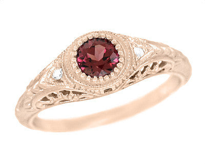 Art Deco Engraved Rhodolite Garnet and Diamond Filigree Engagement Ring in 14 Karat Rose ( Pink ) Gold
