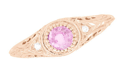 Art Deco Pink Sapphire & Diamond Low Dome Filigree Engagement Ring in 14 Karat Rose Gold - Item: R138RPS - Image: 2