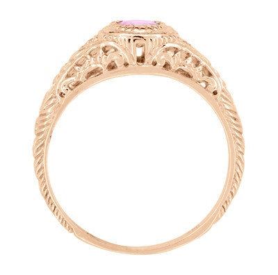 Art Deco Pink Sapphire & Diamond Low Dome Filigree Engagement Ring in 14 Karat Rose Gold - Item: R138RPS - Image: 3
