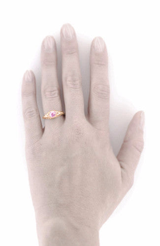 Art Deco Pink Sapphire & Diamond Low Dome Filigree Engagement Ring in 14 Karat Rose Gold - Item: R138RPS - Image: 4