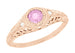 Art Deco Pink Sapphire & Diamond Low Dome Filigree Engagement Ring in 14 Karat Rose Gold