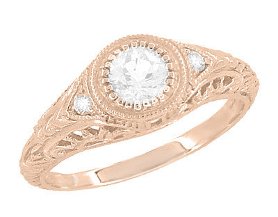 Art Deco Low Dome Filigree White Sapphire Engagement Ring in 14 Karat Rose Gold