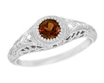 Art Deco Engraved Almandite Garnet and Diamond Filigree Engagement Ring in 14 Karat White Gold