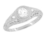 Art Deco Engraved Filigree White Sapphire Engagement Ring in 14 Karat White Gold