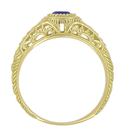 Art Deco Engraved Sapphire and Diamond Filigree Engagement Ring in 18 Karat Yellow Gold - Item: R138Y - Image: 2