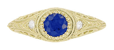 Art Deco Engraved Sapphire and Diamond Filigree Engagement Ring in 18 Karat Yellow Gold - Item: R138Y - Image: 4