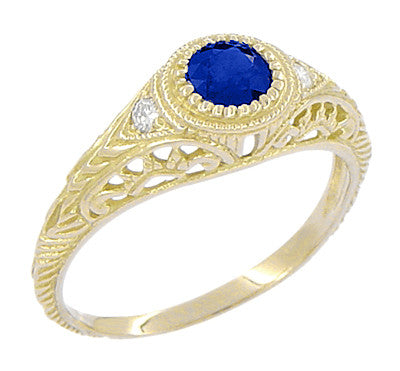 Art Deco Engraved Sapphire and Diamond Filigree Engagement Ring in 18 Karat Yellow Gold - Item: R138Y - Image: 1