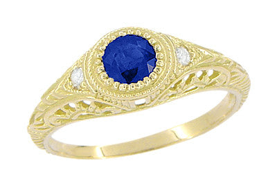 Art Deco Engraved Sapphire and Diamond Filigree Engagement Ring in 18 Karat Yellow Gold