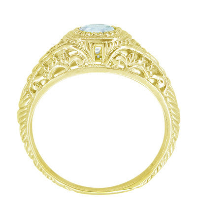 Art Deco Engraved Filigree Aquamarine and Diamond Engagement Ring in 18 Karat Yellow Gold - Item: R138YA - Image: 2