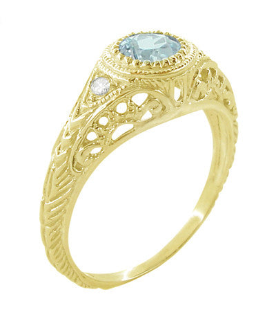 Art Deco Engraved Filigree Aquamarine and Diamond Engagement Ring in 18 Karat Yellow Gold - Item: R138YA - Image: 1
