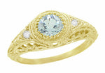 Art Deco Engraved Filigree Aquamarine and Diamond Engagement Ring in 18 Karat Yellow Gold