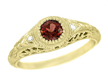 Art Deco Engraved Almandite Garnet and Diamond Filigree Engagement Ring in 18 Karat Yellow Gold