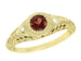 Art Deco Engraved Almandite Garnet Filigree Engagement Ring in Yellow Gold With Side Diamonds